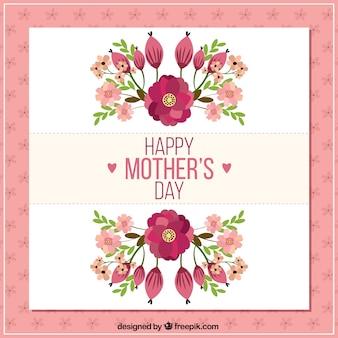 Carte du jour de mère heureux avec des fleurs