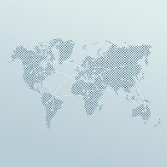 Carte du monde avec la conception des lignes de connexion