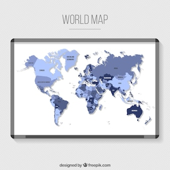 Carte du monde en conception plate