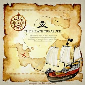 Carte du trésor arrière-plan et bateau aquarelle