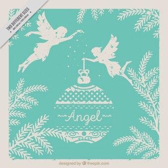 Carte élégante vintage d'anges avec boule de noël