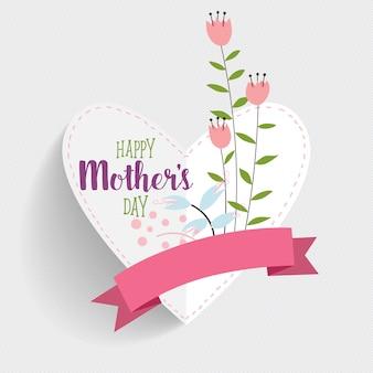 Carte heureuse pour les fêtes des mères avec forme coeur