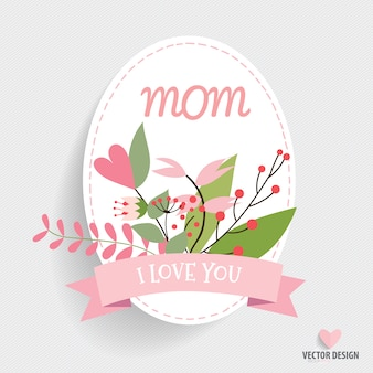 Carte ovale de jour de mère avec ruban et fleurs