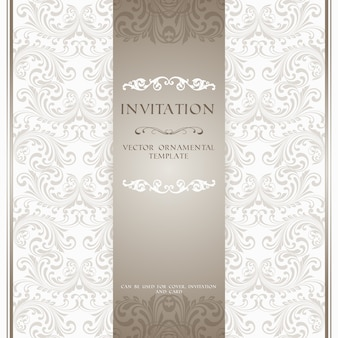 Carte postale d'invitation orale ou beige ornementée