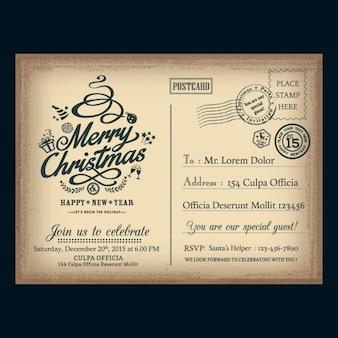 Carte postale de Noël vintage courrier postal