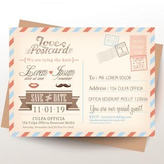 Carte postale vintage invitation de mariage fond