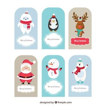 Cartes d'animaux de Noël