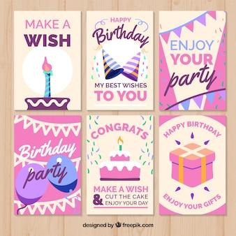 Cartes d'anniversaire avec design rose
