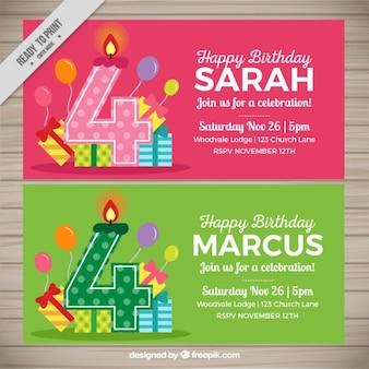 Cartes d'anniversaire mignon avec des bougies quatre en forme