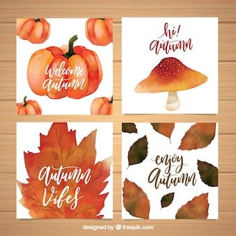 Cartes d'aquarelle avec feuilles, citrouille et champignons