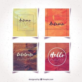 Cartes d'automne avec style moderne