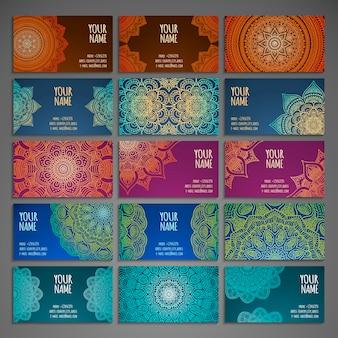 Cartes de collection avec mandalas