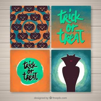 Cartes de Halloween avec style aquarelle