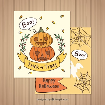 Cartes de Halloween avec un style adorable