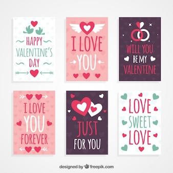 Cartes de jour de Saint-Valentin dessinée belle main