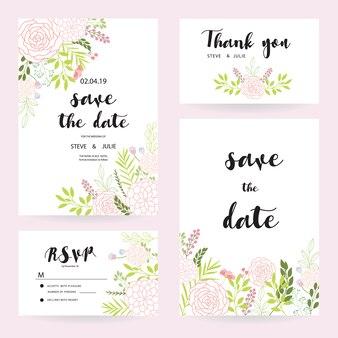 Cartes de mariage blanches avec collection de fleurs