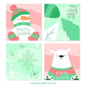 Cartes de Noël avec un style adorable