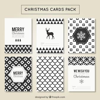 Cartes de Noël pack géométrique