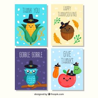 Cartes de personnage de thanksgiving drôles