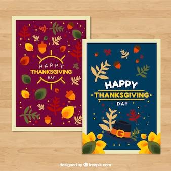 Cartes de Thanksgiving avec des éléments naturels