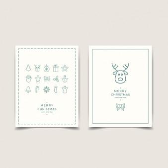 Cartes Minimaliste avec décoration de Noël