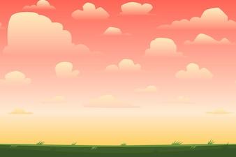 Cartoon nature paysage horizontal transparente avec un beau soir ou le matin coucher de soleil ciel et les nuages Vector illustration