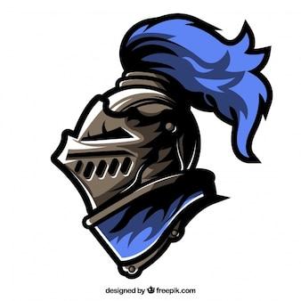 Casque d'armure avec détails bleus
