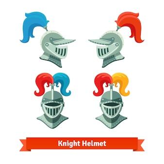 Casque de chevaliers médiévaux avec panache. Police et côté