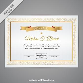 Certificat avec des détails dorés