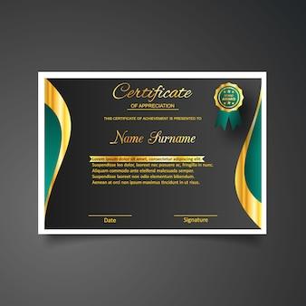 Certificat d'apposition avec modèle de médaille bleue