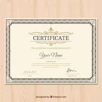 Certificat d'appréciation avec une décoration ornementale