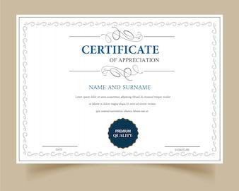 Certificat d'appréciation blanc