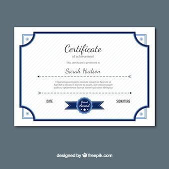 Certificat d'excellence avec des éléments bleus