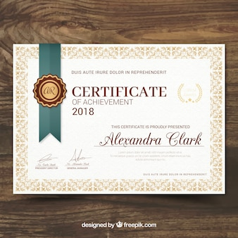 Certificat de reconnaissance dans le style vintage