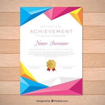 Certificat de réussite avec des formes géométriques colorées