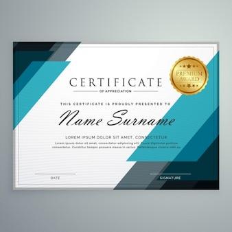 Certificat de style de modèle de conception de prix de reconnaissance de formes géométriques