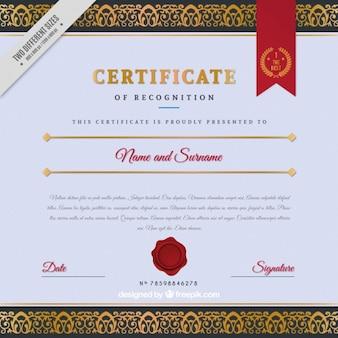 certificat élégant avec une bande décorative