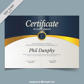 Certificat élégant de réalisation
