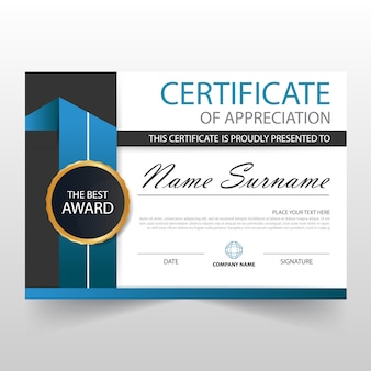 Certificat horizontal bleu ELegant avec illustration vectorielle