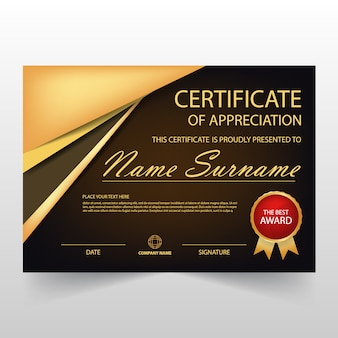 Certificat horizontal Gold Black ELegant avec illustration vectorielle