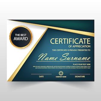 Certificat horizontal Gold Black ELegant avec illustration vectorielle