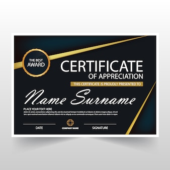 Certificat horizontal noir ELegant avec illustration vectorielle