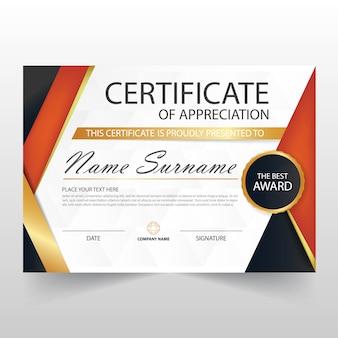Certificat horizontal Orange ELegant avec illustration vectorielle