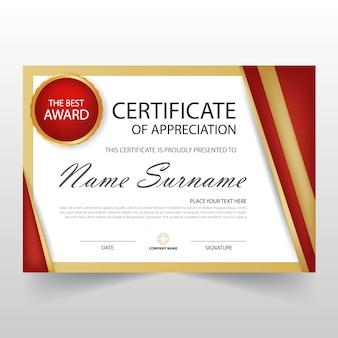 Certificat horizontal rouge ELegant avec illustration vectorielle