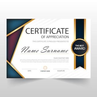 Certificat horizontal violet ELEgant avec illustration vectorielle