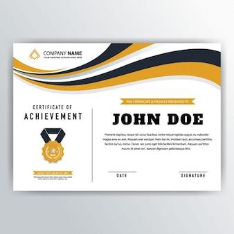 Certificat ondulé jaune de réussite