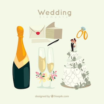 Champagne avec éléments de mariage