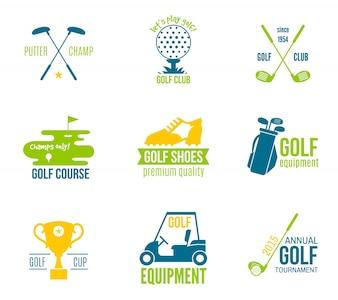 Championnat de club de golf et équipement étiquette coloré ensemble isolé illustration vectorielle
