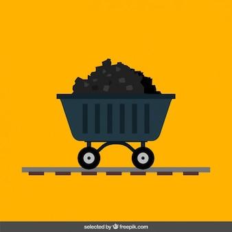 Chariot de mine de charbon dans la conception plat