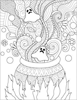 Chaudron dessiné à la main avec fantôme